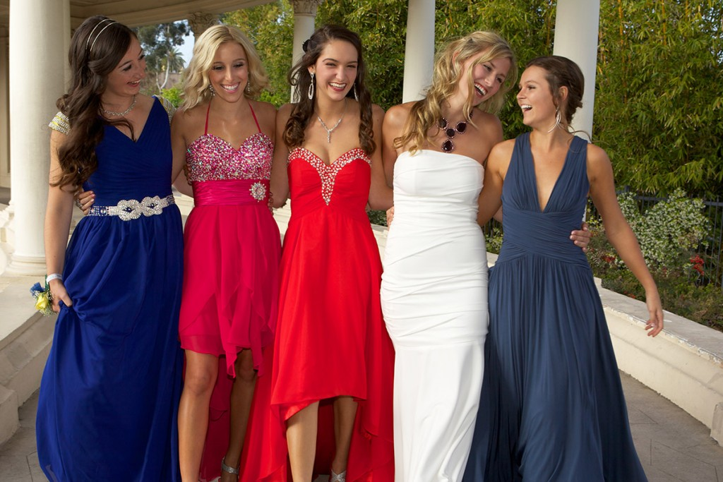 Prom Girls Walking Outdoors